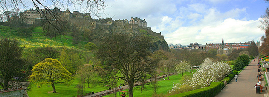 View of Princes Street gardens and Edinburgh Castle